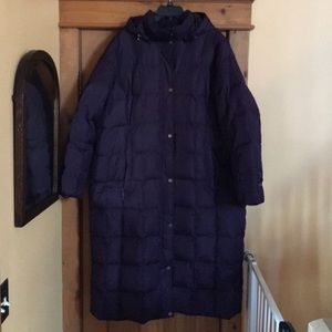 Lands End Long Winter Down Coat with hood